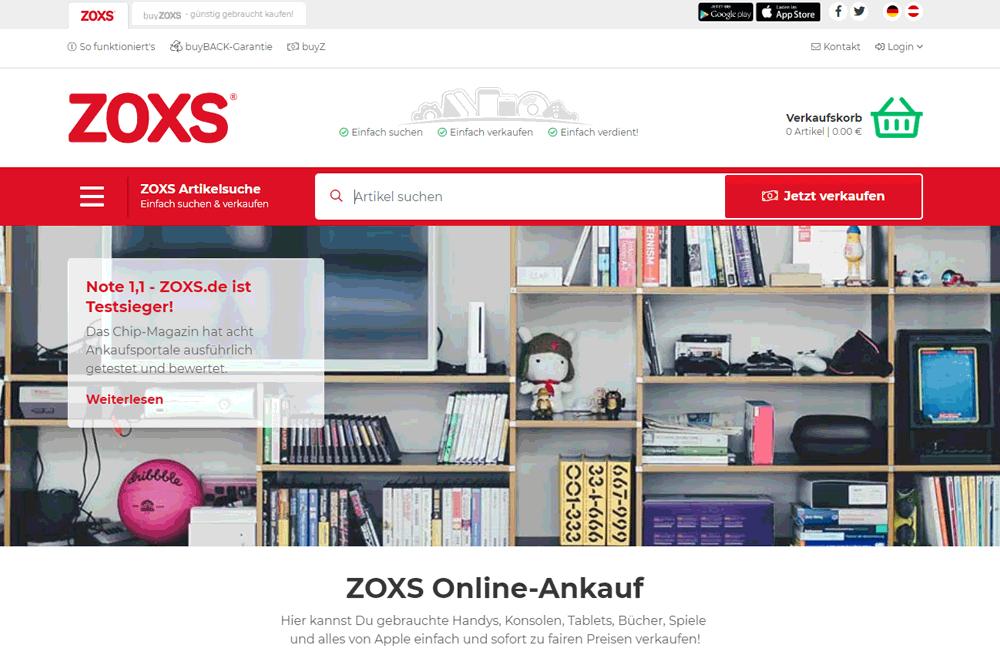 Screenshot ZOXS.de-Startseite