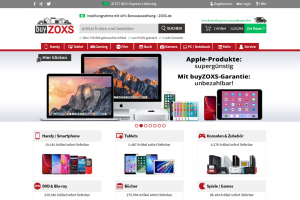Screenshot buyZOXS.de-Startseite