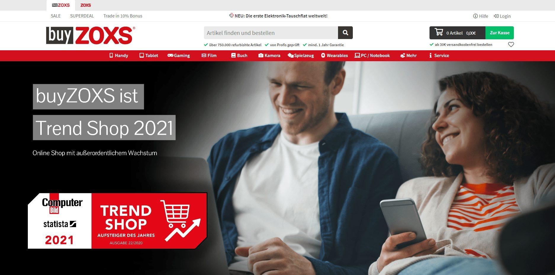 Die Startseite von buyZOXS.de